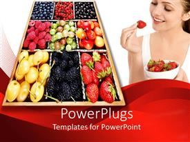 PPT theme consisting of a tray with different types of fruits and a smiling lady