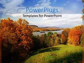 PPT layouts consisting of trees along riverbank in autumn, blue sky