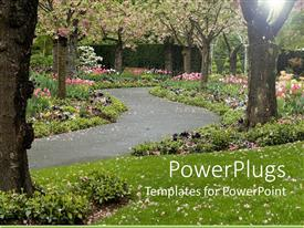Colorful presentation having trees in blossom and pink flowers on green grass with paved pathway