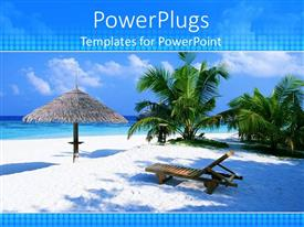 Presentation design enhanced with tropical beach vacation scene with umbrella, sand, lounge chair, palm trees