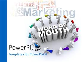 Colorful PPT layouts having twelve 3D character holding mega phones with text that spell out the words