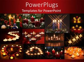 PPT theme with twelve colorful tiles with lit candles on a red background