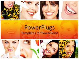 Elegant slide set enhanced with twelve depictions of happy smiling women with flowers, white teeth smiles