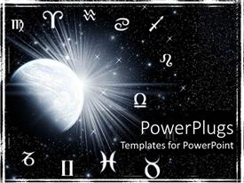 5000 zodiac powerpoint templates w zodiac themed backgrounds amazing ppt theme consisting of twelve zodiac symbols around the planet on a starry galaxy black toneelgroepblik Gallery