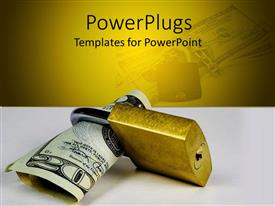PPT theme featuring twenty dollar bill in gold colored padlock, protect money