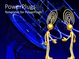 Presentation design having two 3D golden figures offering hand to each other with thinking satellite depiction above their head, satellite telecommunication transmitter and world map on dark blue background