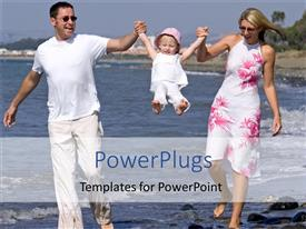 PPT theme featuring two adults and a baby walking on a beach