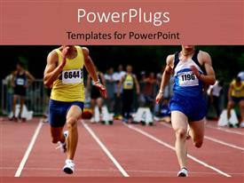 PPT layouts consisting of two athletic runners having a race competition on a track field