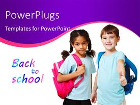 Beautiful PPT theme with two beautiful kids dressed for school with text BACK TO SCHOOL