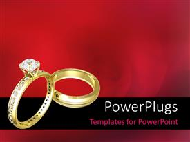 Beautiful theme with two Beautiful wedding rings on a blurred flowery background