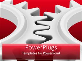 Presentation design enhanced with two big ash colored gears interlocked on a red background