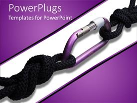 Audience pleasing presentation theme featuring two black safety cords linked on a white and purple background