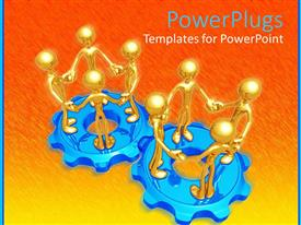 Amazing PPT theme consisting of two blue gears with standing golden 3D figures holding hands, group of four figures on gear