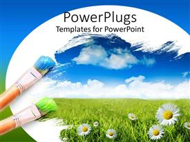 Elegant presentation design enhanced with two blue and green tipped color brushes with daisies