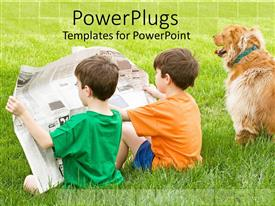 PPT layouts with two boys sitting in the grass reading a newspaper together with their dog