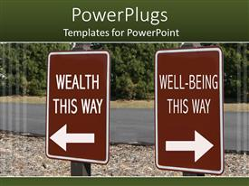 Colorful PPT theme having two brown signs written wealth this way and well-being this way