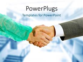 PPT layouts consisting of two business people having a hand shake in agreement