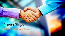 Presentation theme consisting of two business people shaking hands with blurred corporate background