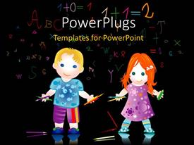 Colorful PPT layouts having two cartoon character school kids on a black background