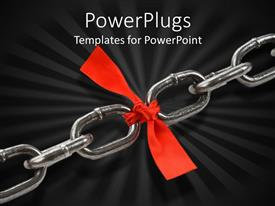 Colorful slide deck having two chains tied with the help of red bow