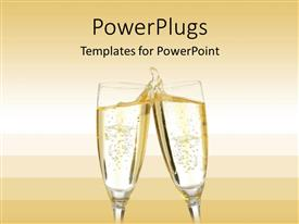 Elegant presentation theme enhanced with two champagne glasses making a toast with a splash on a gradient champagne colored background