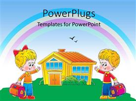 Slide deck with two children cartoon characters holding school bags and pointing to a house