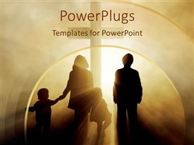 PPT theme consisting of two children with parents family holding hands heading towards cross in light