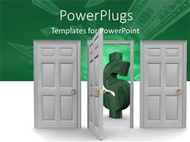 Amazing PPT theme consisting of two closed and one open door with green 3D dollar symbol on other side