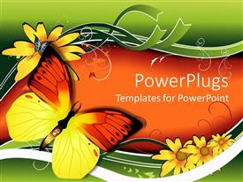 Colorful PPT theme having two colorful butterflies on an orange and green background