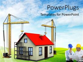 PPT layouts featuring two cranes building house over green background with architect in front