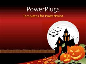 Amazing PPT theme consisting of two designed orange pumpkins cut for a Halloween night