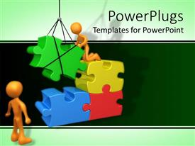 Presentation design consisting of two figures fixing gigantic puzzle pieces using crane in green background