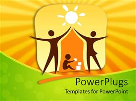 Presentation theme enhanced with two figures mom and dad making a house shadow over child symbol