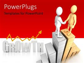 Elegant slide set enhanced with two figures shaking hands with the word growth in the background
