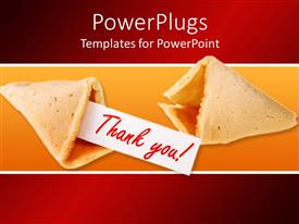 PPT theme featuring two fortune cookies, one empty fortune cookie and one fortune cookie with thank you on white paper