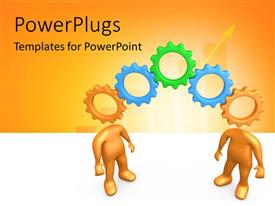 Colorful PPT theme having two gears with a number of gears and yellowish background