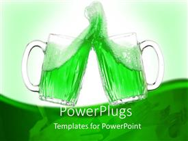 Presentation design consisting of two glass cups toasting with green drink in both