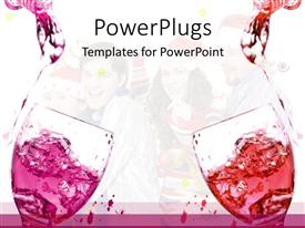 Amazing PPT theme consisting of two glasses with Red and pink soft drinks being poured in