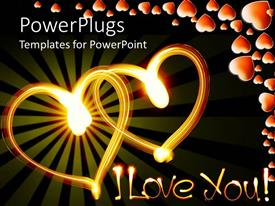 Presentation theme featuring two glowing hearts and I Love You words with hearts on dark background