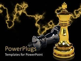Presentation design enhanced with two gold and black colored chess pieces with the gold winning