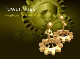 Presentation theme enhanced with two gold plated men in gold gears with green gears in background