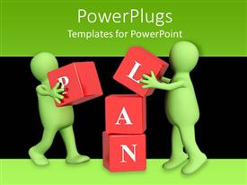 Slide deck consisting of two green 3D figures working in team to put red blocks on over another to form the word plan
