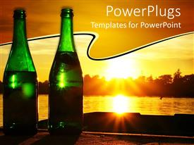 Colorful PPT theme having two green champagne bottles with sunset in background