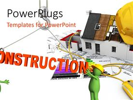 Presentation design enhanced with two green colored animated construction workers with the text construction