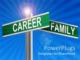 Amazing PPT theme consisting of two green signs posts with a career family text on them