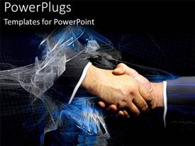 Presentation theme enhanced with two hands having a hand shake with swirling white line around them