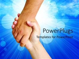 PPT layouts consisting of two hands holding each other on a blue background with light rays and bubbles