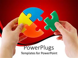 PPT theme consisting of two hands holding jigsaw puzzle pieces