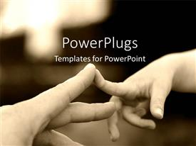 Beautiful PPT theme with two hands with the index finger touching each other