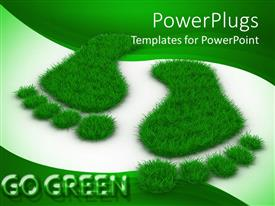 Presentation theme having two large grass foot prints on a green and white background